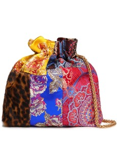 Alice + Olivia Woman Patchwork Satin-jacquard And Leopard-print Calf Hair Clutch Multicolor