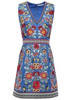 Alice + Olivia Woman Patty Bead-embellished Embroidered Crepe Mini Dress Azure