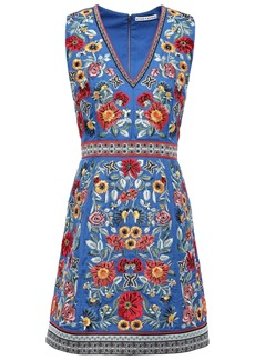 Alice + Olivia Woman Patty Bead-embellished Embroidered Crepe Mini Dress Azure