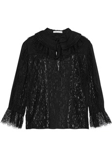 Alice + Olivia Woman Pauletta Pintucked Chiffon And Corded Lace Blouse Black