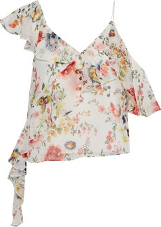 Alice + Olivia Woman Paulina Cutout Ruffle-trimmed Floral-print Chiffon Top Off-white