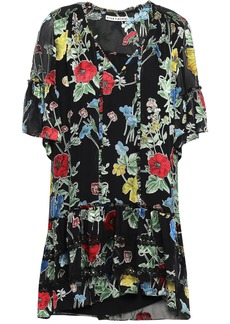Alice + Olivia Woman Pauline Lace-trimmed Floral-print Fil Coupé Chiffon Mini Dress Black