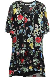 Alice + Olivia Woman Pauline Lace-trimmed Floral-print Fil Coupé Chiffon Mini Dress Black