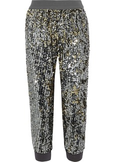 Alice + Olivia Woman Pete Cropped Sequined Jersey Track Pants Gunmetal