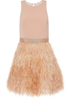 Alice + Olivia Woman Philomena Feather-trimmed Tulle And Crepe Mini Dress Blush