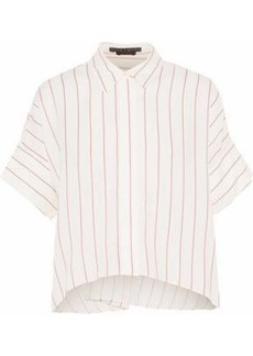 Alice + Olivia Woman Pinstriped Voile Shirt White