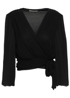 Alice + Olivia Woman Pleated Silk Crepe De Chine Wrap Top Black