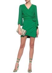 Alice + Olivia Woman Pleated Silk-georgette Wrap Top Green