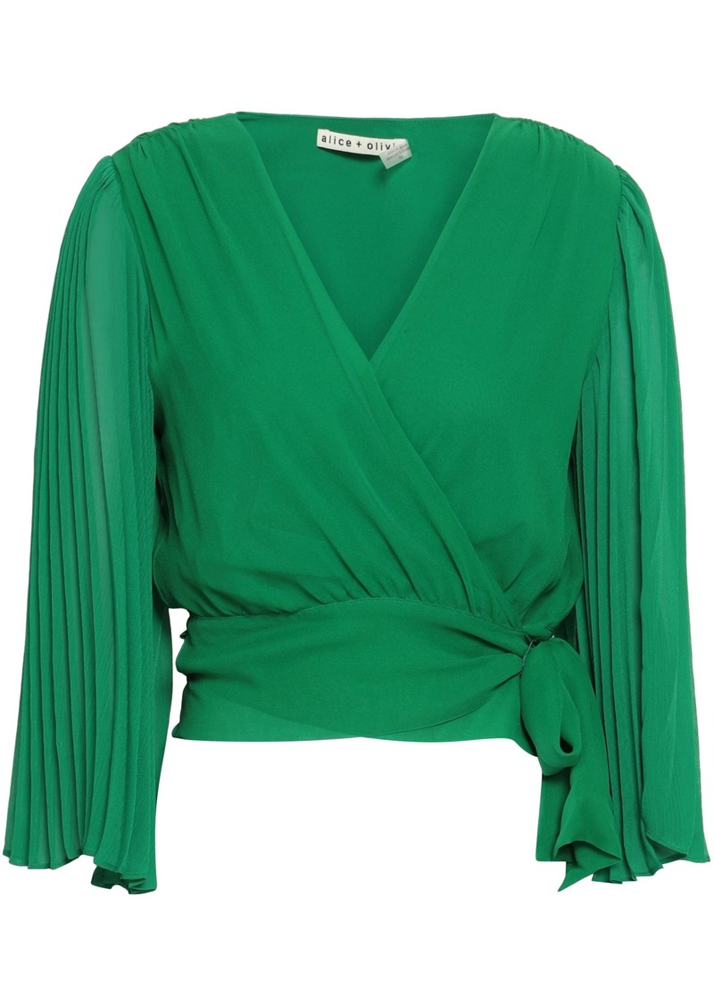 Alice + Olivia Woman Pleated Silk-georgette Wrap Top Green