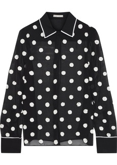 Alice + Olivia Woman Polka-dot Sequin-embellished Chiffon Shirt Black