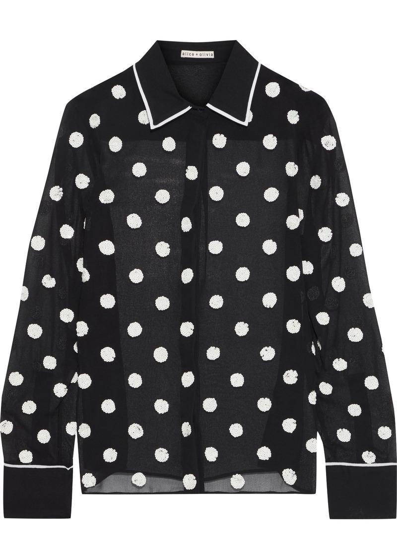 Alice + Olivia Woman Polka-dot Sequin-embellished Chiffon Shirt Black
