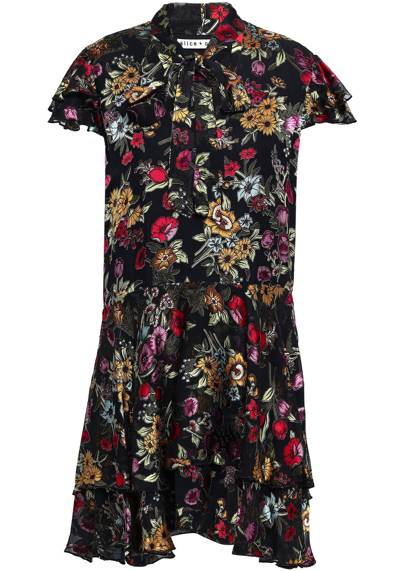 Alice + Olivia Woman Pussy-bow Floral-print Fil Coupé Chiffon Mini Dress Black