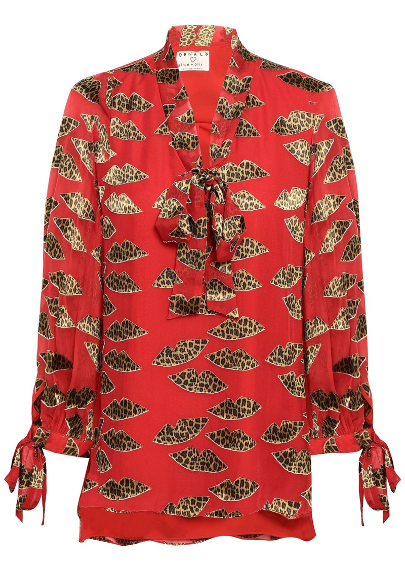 Alice + Olivia Woman Pussy-bow Leopard-print Fil Coupé Georgette Blouse Red