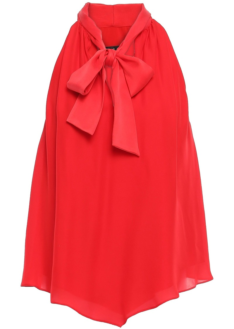 Alice + Olivia Woman Pussy-bow Paneled Silk Top Red