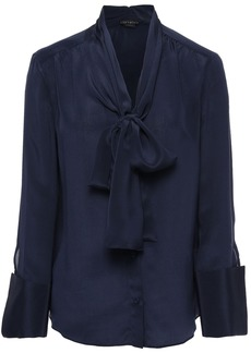 Alice + Olivia Woman Pussy-bow Silk Crepe De Chine Blouse Navy