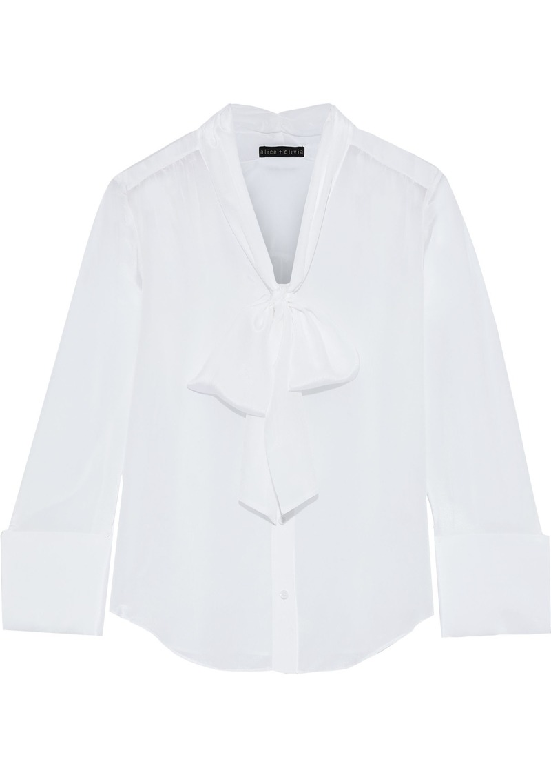Alice + Olivia Woman Pussy-bow Silk Crepe De Chine Blouse White