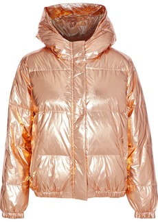 Alice + Olivia Woman Quilted Metallic Shell Down Hooded Jacket Copper