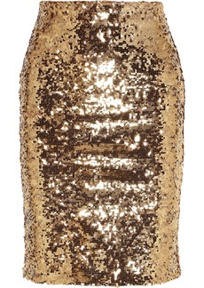 Alice + Olivia Woman Ramos Sequined Mesh Pencil Skirt Gold