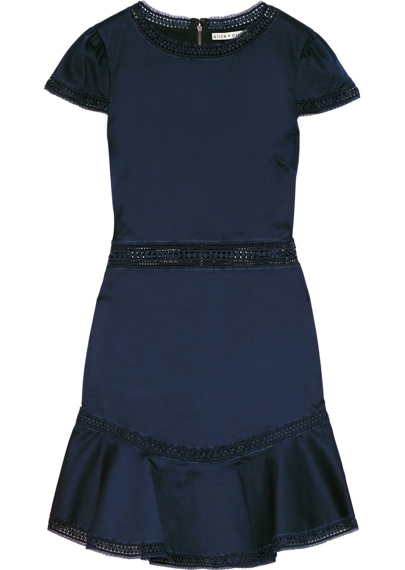 Alice + Olivia Woman Rapunzel Ruffled Lace-trimmed Stretch-cotton Mini Dress Navy