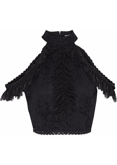 Alice + Olivia Woman Regina Cold-shoulder Cropped Ruffled Lace Top Black