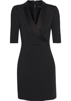 Alice + Olivia Woman Remi Wrap-effect Satin-trimmed Stretch-jersey Mini Dress Black