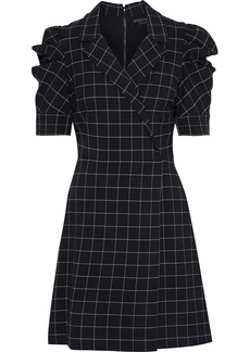 Alice + Olivia Woman Rhoda Wrap-effect Checked Cady Mini Dress Black