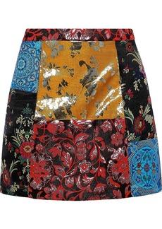 Alice + Olivia Woman Riley Patchwork Metallic Brocade Mini Skirt Multicolor