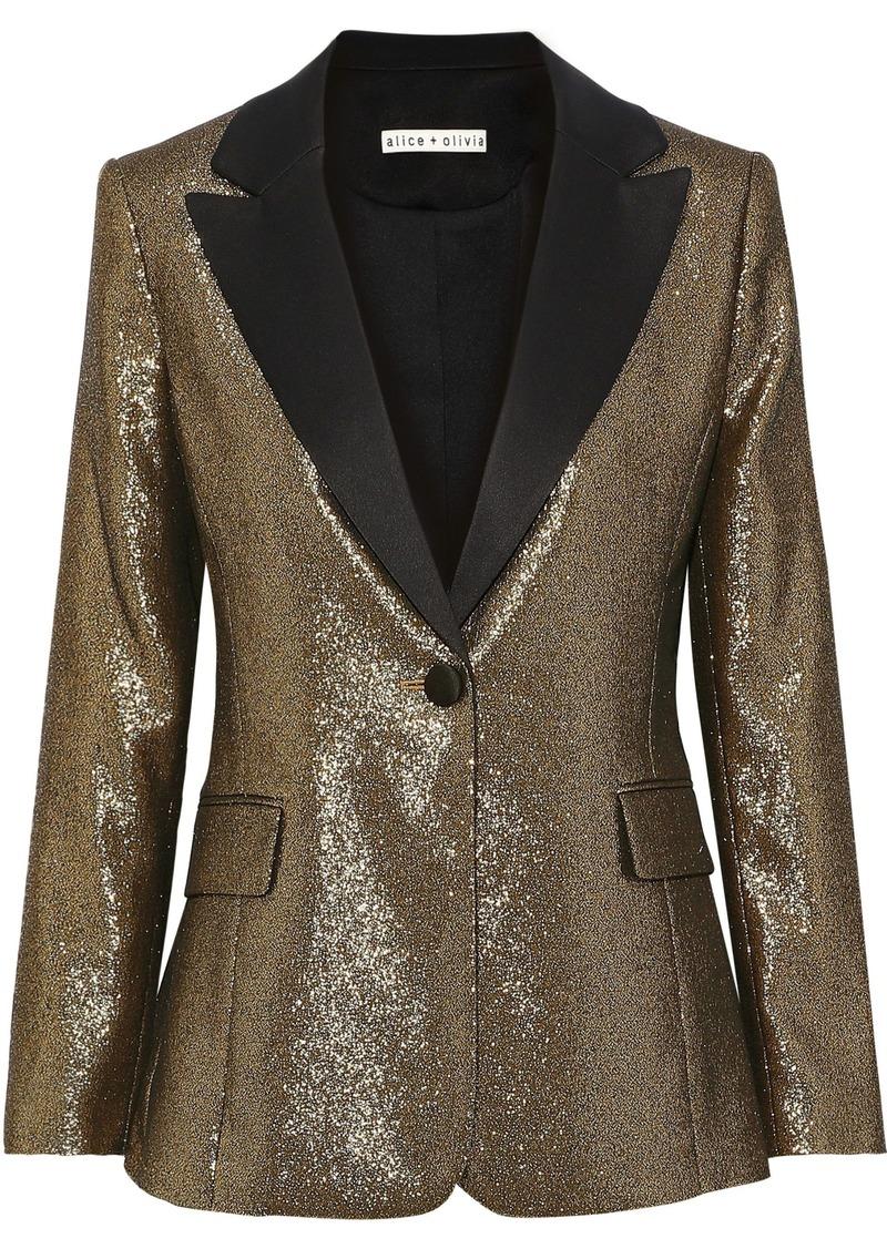 Alice + Olivia Woman Robert Satin-trimmed Lamé Blazer Gold