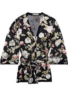 Alice + Olivia Woman Rosario Floral-print Fil Coupé Chiffon Kimono Top Black