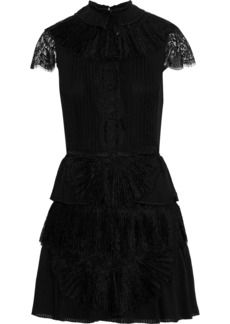 Alice + Olivia Woman Rosetta Lace-paneled Pleated Tiered Organza Mini Dress Black