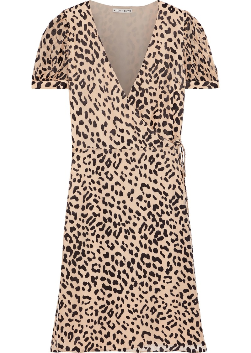 Alice + Olivia Woman Rosette Leopard-print Fil Coupé Chiffon Wrap Dress Animal Print