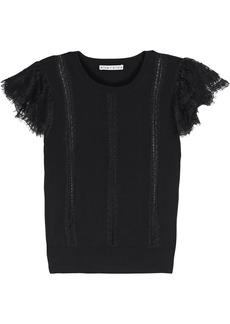 Alice + Olivia Woman Rosio Lace-trimmed Knitted Sweater Black