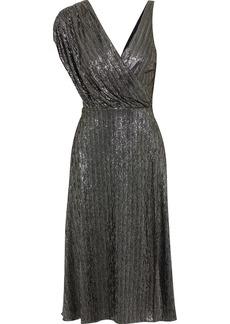Alice + Olivia Woman Roxy Asymmetric Draped Metallic Jersey Midi Dress Black