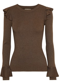 Alice + Olivia Woman Ruffle-trimmed Ribbed-knit Top Tan