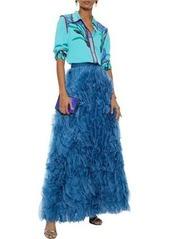 Alice + Olivia Woman Ruffled Silk-organza Maxi Skirt Cobalt Blue