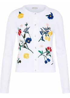 Alice + Olivia Woman Ruthy Embroidered Cotton-blend Cardigan White