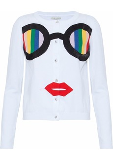 Alice + Olivia Woman Ruthy Rainbow Staceface Appliquéd Cotton-blend Cardigan White