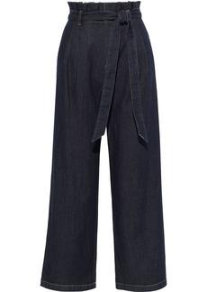 Alice + Olivia Woman Ryan Belted Ruffle-trimmed High-rise Wide-leg Jeans Dark Denim