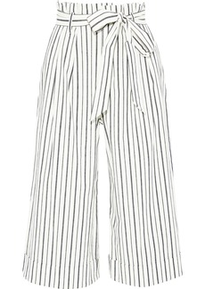 Alice + Olivia Woman Ryan Belted Striped Stretch-cotton Culottes White