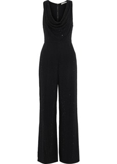Alice + Olivia Woman Salem Crystal-embellished Crepe Wide-leg Jumpsuit Black