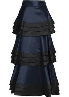 Alice + Olivia Woman Samba Tiered Duchesse Satin Maxi Skirt Midnight Blue