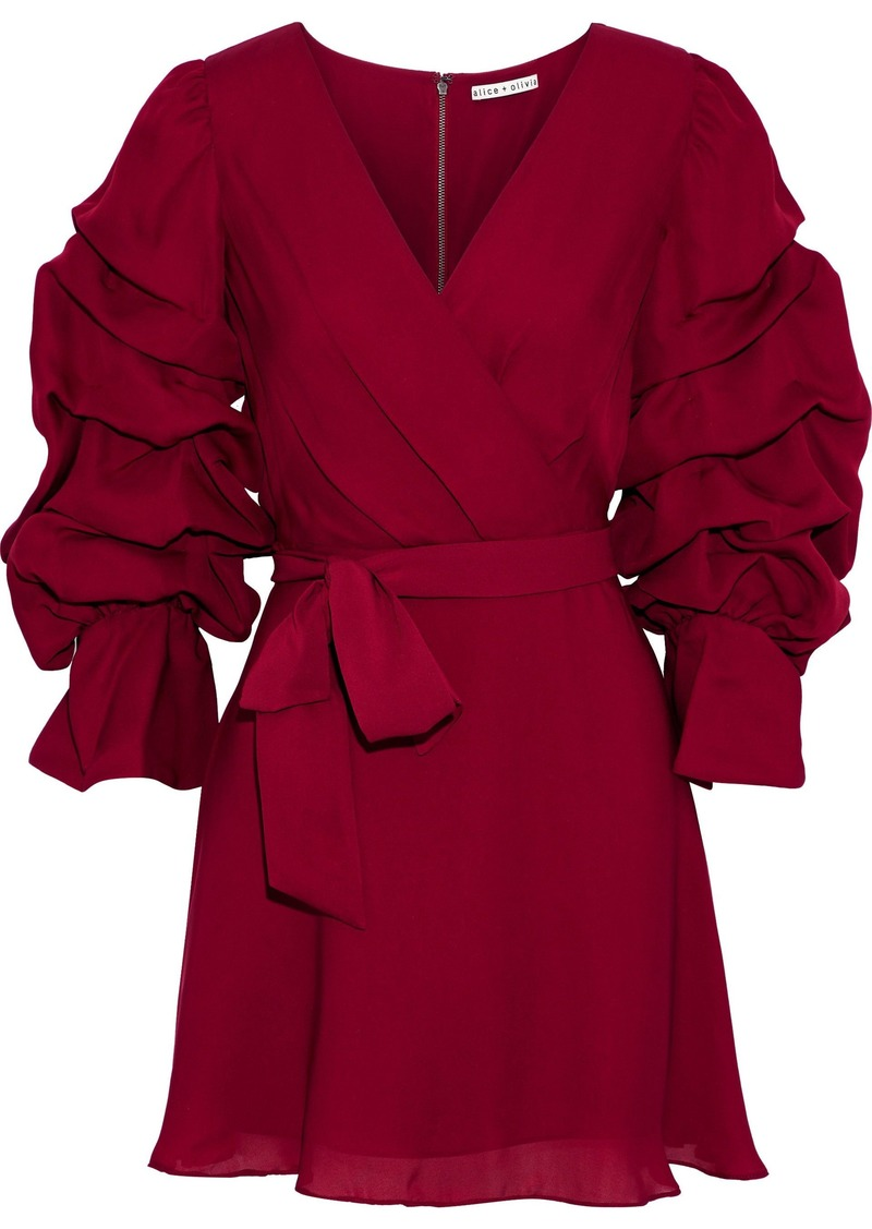 Alice + Olivia Woman Santina Wrap-effect Ruched Silk-chiffon Mini Dress Claret