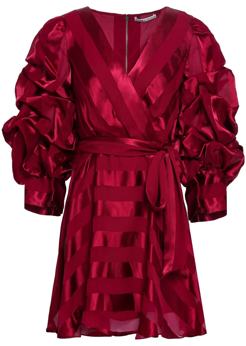 Alice + Olivia Woman Santina Wrap-effect Striped Satin-jacquard Mini Dress Claret