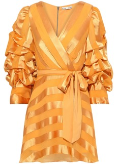Alice + Olivia Woman Santina Wrap-effect Striped Satin-jacquard Mini Dress Saffron