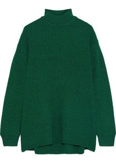 Alice + Olivia Woman Sarah Open-back Ribbed Wool-blend Turtleneck Sweater Emerald