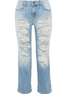 Alice + Olivia Woman Scott Cropped Distressed Boyfriend Jeans Light Denim