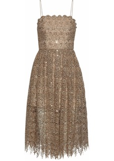Alice + Olivia Woman Sequined Metallic Macramé Lace Dress Gold