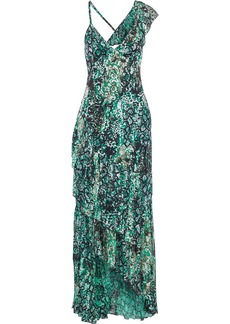 Alice + Olivia Woman Shanel Asymmetric Ruffled Snake-print Burnout Crepe De Chine Maxi Dress Emerald
