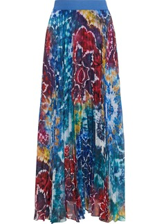 Alice + Olivia Woman Shannon Pleated Tie-dyed Georgette Maxi Skirt Bright Blue