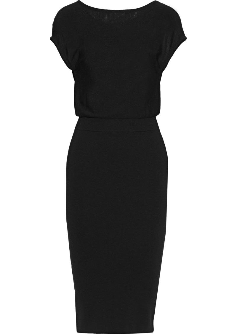 Alice + Olivia Woman Shara Twist-back Cutout Wool-blend Dress Black
